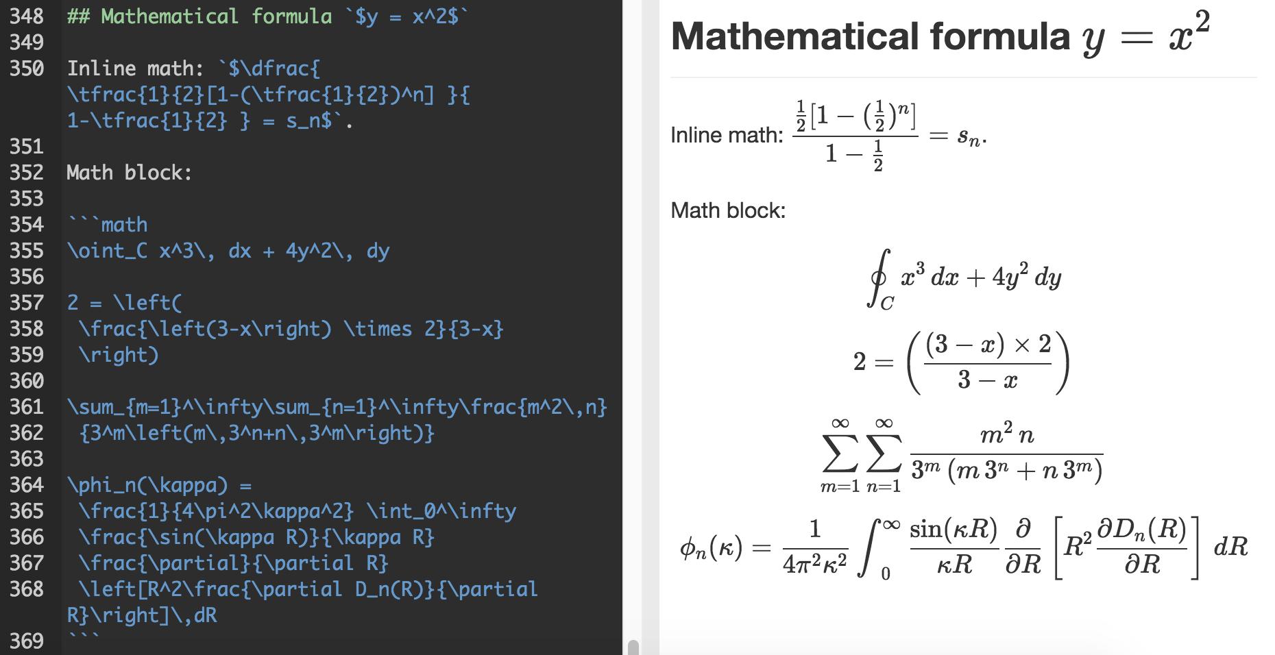 书写数学公式